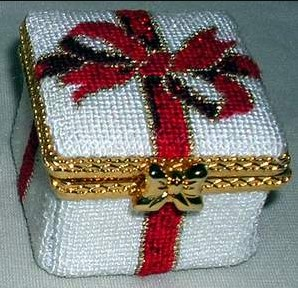click here to view larger image of Gift Box w/Red Bow - Square Hinged Box (hand painted canvases)