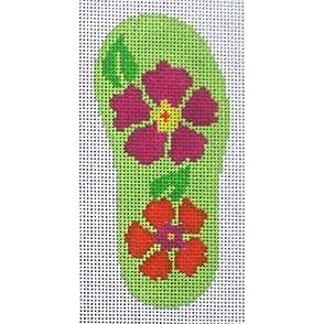 click here to view larger image of Flip Flop - Tropical Floral (hand painted canvases)