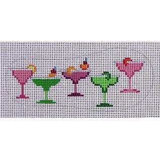 click here to view larger image of Flip Flop - Margarita Glasses (hand painted canvases)