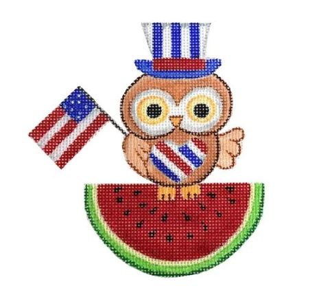 click here to view larger image of 4th of July Owl (hand painted canvases)