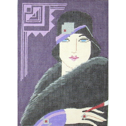 click here to view larger image of Purple Hat w/Jewel - Art Deco (hand painted canvases)