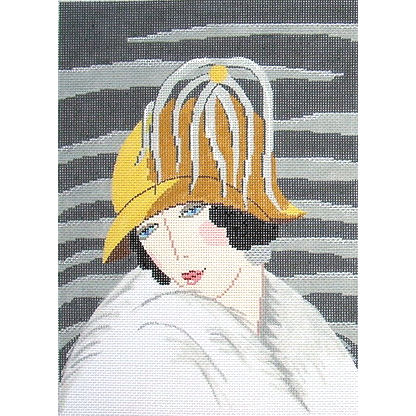 click here to view larger image of Yellow and Gray Hat - Art Deco (hand painted canvases)