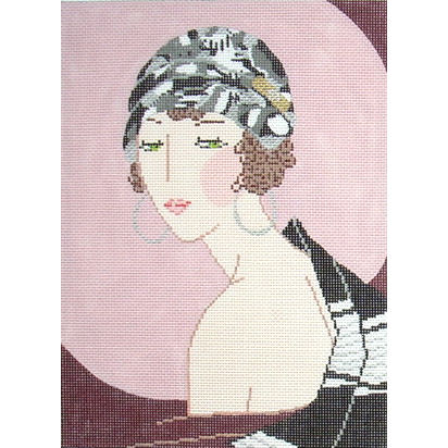 click here to view larger image of Mauve Hat w/Jewel - Art Deco (hand painted canvases)