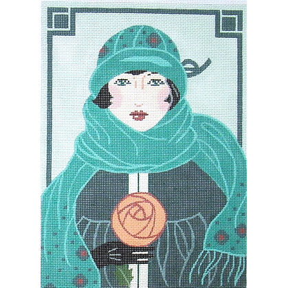 click here to view larger image of Teal Hat - Art Deco (hand painted canvases)
