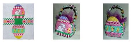 click here to view larger image of Basket - Easter Egg (hand painted canvases)