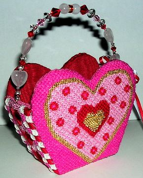 click here to view larger image of Basket - Heart Shaped (hand painted canvases)