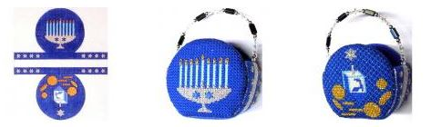 click here to view larger image of Basket - Hanukkah (hand painted canvases)