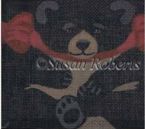 click here to view larger image of Black Bear Tissue Roll Ornament    (hand painted canvases)