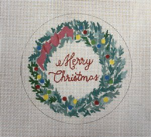 click here to view larger image of Merry Christmas Wreath (hand painted canvases)