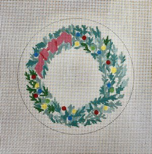 click here to view larger image of Christmas Wreath w/Bow (hand painted canvases)