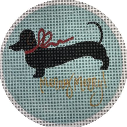 click here to view larger image of Black Dachshund Merry - Blue Backgound (hand painted canvases)