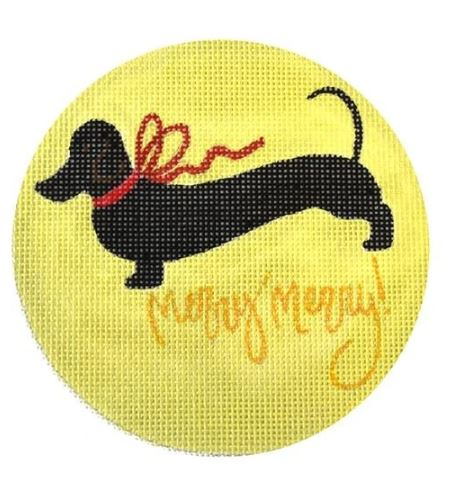 click here to view larger image of Black Dachshund Merry - Gold Backgound (hand painted canvases)