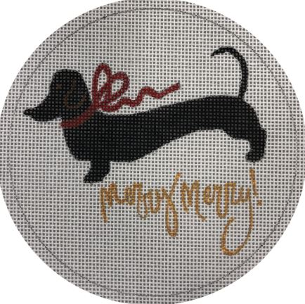 click here to view larger image of Black Dachshund Merry - White Backgound (hand painted canvases)
