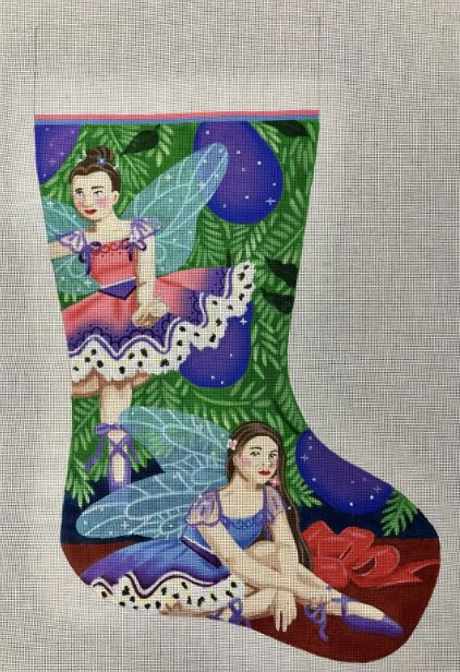 click here to view larger image of Sugarplum Stocking  (hand painted canvases)