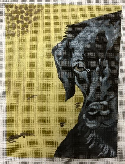 click here to view larger image of Black Lab w/Yellow b/g (hand painted canvases)