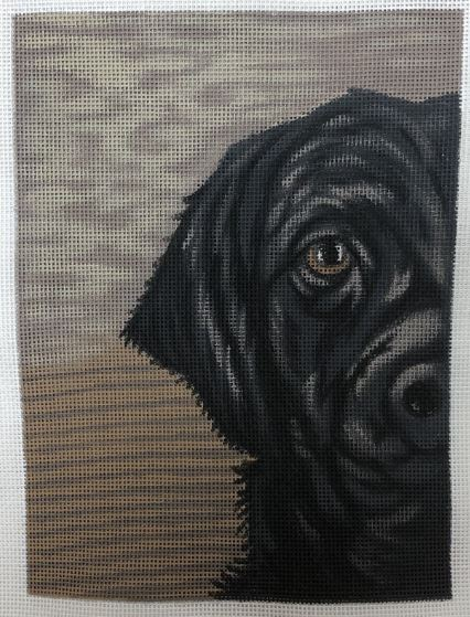 click here to view larger image of Black Lab w/Brown b/g (hand painted canvases)