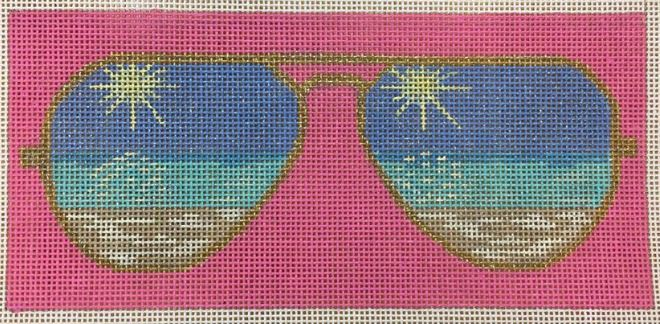 click here to view larger image of Beach Eye Glass Case (hand painted canvases)