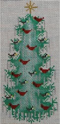 click here to view larger image of Birds Christmas Tree Sign  (hand painted canvases)