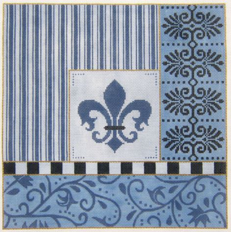 click here to view larger image of Blue Fleur w/Borders (hand painted canvases)