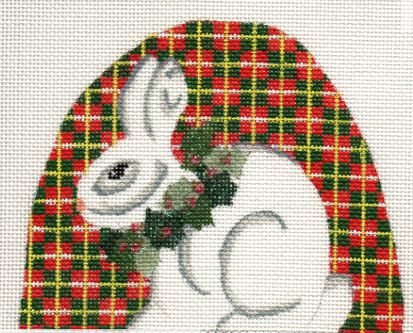click here to view larger image of Rabbit on Plaid (hand painted canvases)