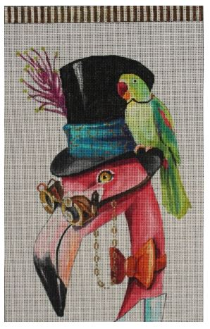 click here to view larger image of Flamingo w/Green Parrot (hand painted canvases)