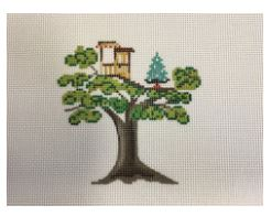 click here to view larger image of Christmas House - Tree House (hand painted canvases)