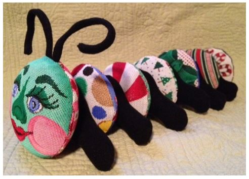 click here to view larger image of Christmas Caterpillar (14 Pieces) (hand painted canvases)