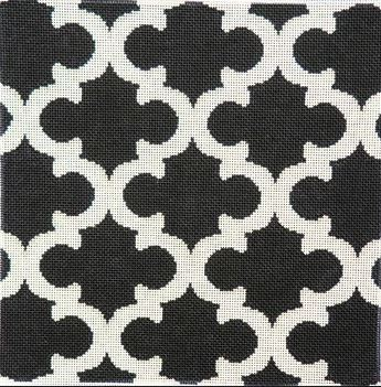 click here to view larger image of Cream/Black Quatrefoil Bolster (hand painted canvases)