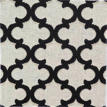 click here to view larger image of Black/Cream Quatrefoil Bolster (hand painted canvases)
