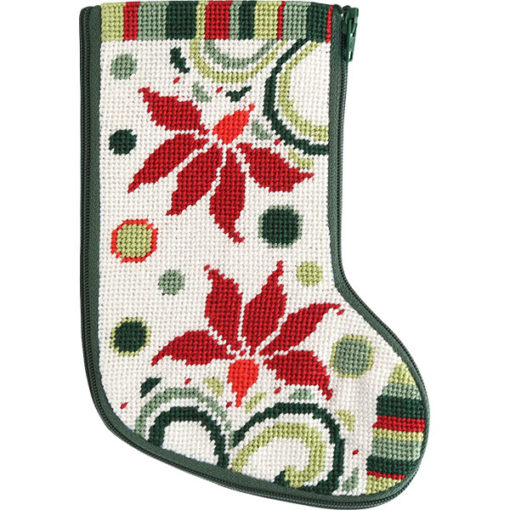 click here to view larger image of Modern Poinsettia Mini Stocking Stitch and Zip  (needlepoint kits)