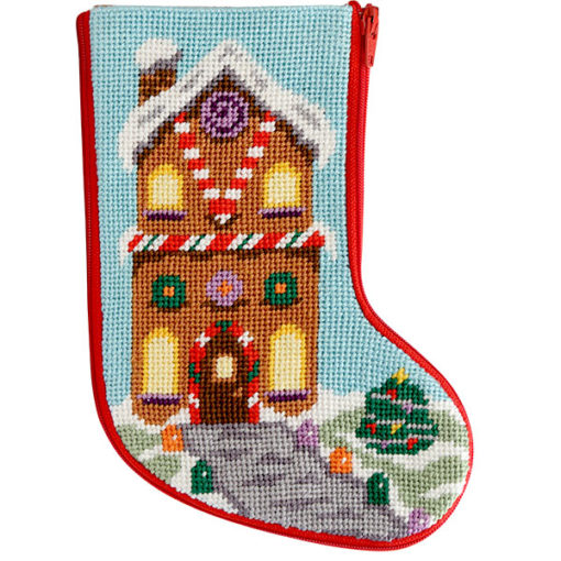click here to view larger image of Gingerbread House Mini Stocking Stitch and Zip  (needlepoint kits)