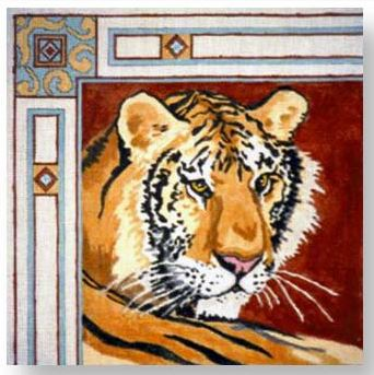 click here to view larger image of Bordered Tiger (hand painted canvases)
