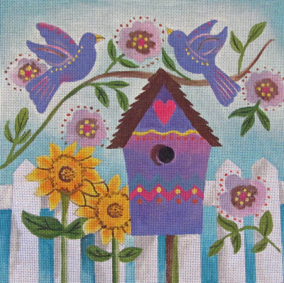 click here to view larger image of Bluebird Birdhouse (hand painted canvases)