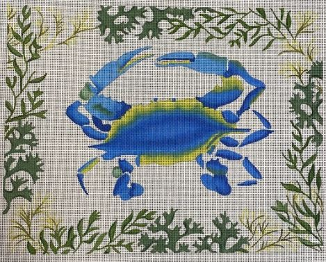 click here to view larger image of Blue Crab w/Mixed Seaweed Border (hand painted canvases 2)