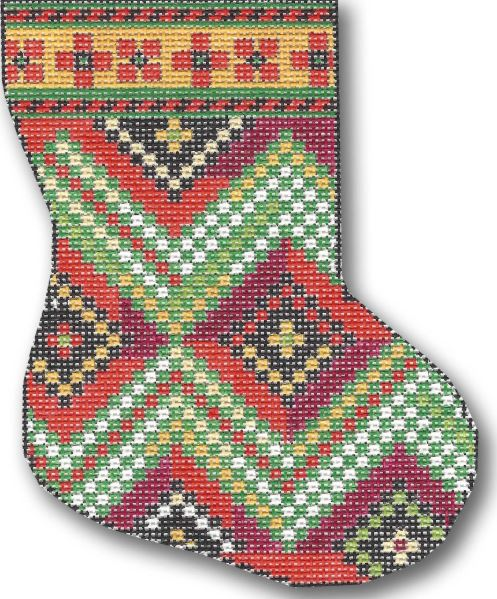 click here to view larger image of Patchwork Diamonds Mini Stocking (hand painted canvases)