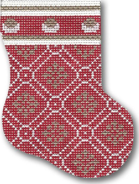 click here to view larger image of Snowflake Mini Stocking (hand painted canvases)