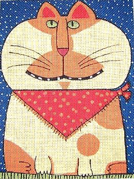 click here to view larger image of Cat w/Bandanna (hand painted canvases)