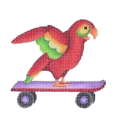 click here to view larger image of By the Sea - Parrot on Skateboard (hand painted canvases)