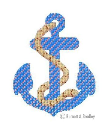 click here to view larger image of Anchors - Blue/Coral Stripe w/Rope (hand painted canvases)