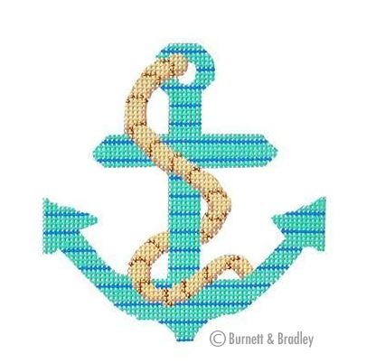 click here to view larger image of Anchors - Seafoam/Blue Stripe w/Rope (hand painted canvases)