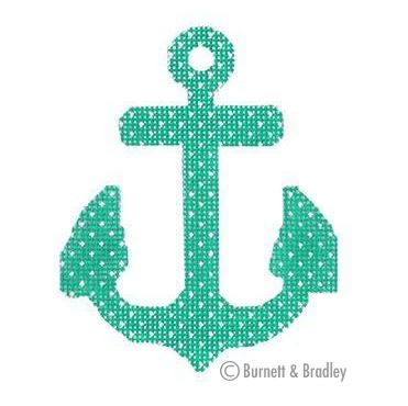 click here to view larger image of Anchors - Seafoam w/Dots (hand painted canvases)