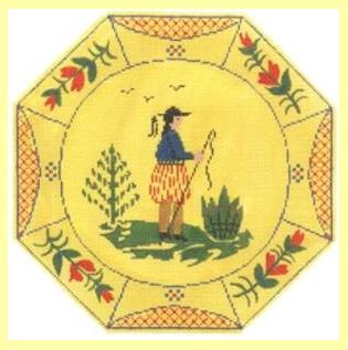 click here to view larger image of Boy Quimper Plate (hand painted canvases)