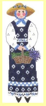 click here to view larger image of ​Garden Lady w/Lavender - Blue (hand painted canvases)
