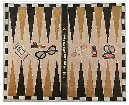 click here to view larger image of Beauty Backgammon Board  (hand painted canvases)