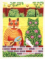 click here to view larger image of Hedge Cat (hand painted canvases)