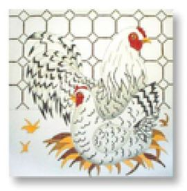 click here to view larger image of Black/White Chickens (hand painted canvases)