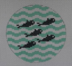 click here to view larger image of 5 Little Fish on Wave -  Navy/Seafoam (hand painted canvases)