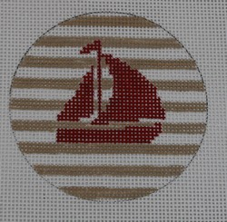 click here to view larger image of Sailboat on Stripe - Red/Khaki (hand painted canvases)