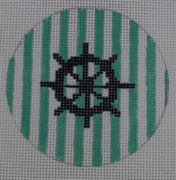 click here to view larger image of Ship Wheel on Stripe -  Navy/Seafoam (hand painted canvases)
