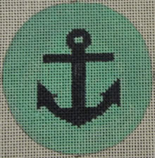 click here to view larger image of Anchor on Solid Background - Navy/Seafoam (hand painted canvases)
